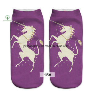 Europe New 3D Unicorn Printed Emoji Custom Boat Socks Factory pictures & photos