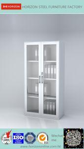 2 Swinging Doors Filing Cabinet Office Furniture with Steel Framed Glass Doors and Adjust Shelves/Storage Cabinet
