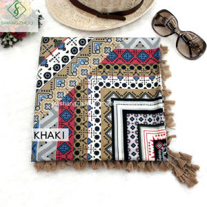 Fashion Scarf National Style with Tassel Twill Cotton Square Shawl pictures & photos