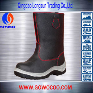 High Quality Black Rubber Soled Safety Shoes/Work Boots