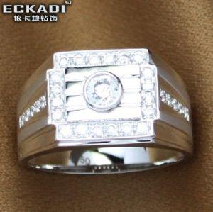 18k Gold Zirconia Male Ring (EKDRW716)