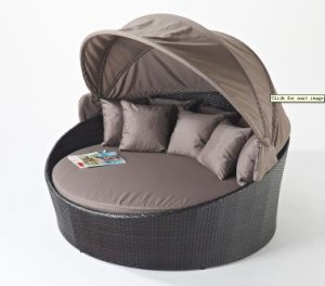 Garden Wicker Round Love Sofa Bed Outdoor Rattan Furniture (P-RLB)
