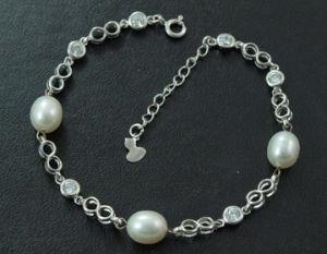 925 Silver Jewelry with Freshwater Pear Bracelet (WSTPA00661)