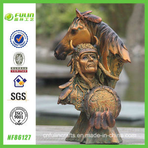 Resin Bronze Hero and Horse Archaistic Decor (NF86127)
