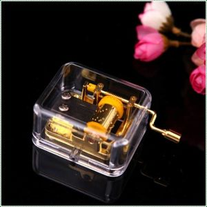 Handcrank Plastic Music Box Goldplated Movement