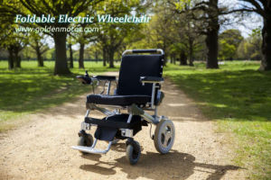 Lightweight Portable Travel Aluminum Folding Lithium Battery Power Electric Wheelchair with Ce Certificate pictures & photos