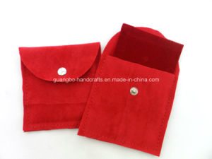 White Suede Jewelry Pouches with Button Snap pictures & photos