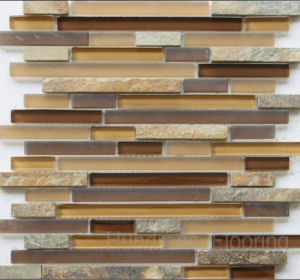 Kitchen Backsplash Stone Mix Glass Mosaic Tile (HGM272) pictures & photos
