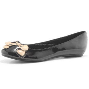 Black Lady Flat Shoes with Good Quality with Bow