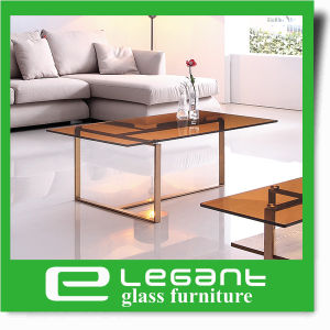 Stone Painted Tempered Glass Center Table with Iron Base pictures & photos