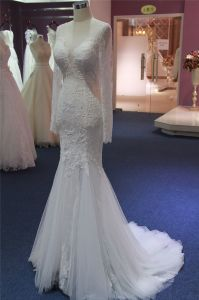 Hot Sale High Quality Lace Long Sleeve Mermaid Wedding Dress pictures & photos