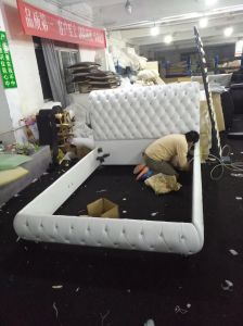 modern Design Multi Color Leather Bed with Crystal pictures & photos
