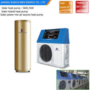 New Tech. 220V Dhw 60deg. C 5kw 260L, 7kw, 9kw High Efficiency Cop5.32 Save 80% Power Heat Pump with The Exchanger for Solar System pictures & photos