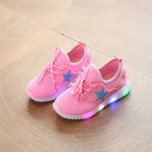2017 New Design Children Unisex Shoes LED Flashing Stars Rubber Bottom Flat Canvas Shoes pictures & photos