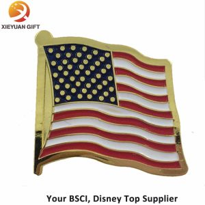 America Three Flag Soft Enamel Gold Lapel Pin Badge pictures & photos