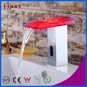 Fyeer Glass Spout Waterfall Automatic Sensor Faucet with LED Light pictures & photos