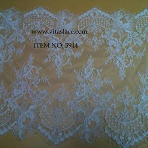White Polyester Fashion French Lace Trim for Lady Gown From China Factory Vbk-5944