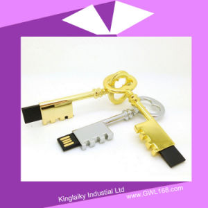 Key Shaped USB Pen Drive in Silver and Golden Plating Ku-023 pictures & photos