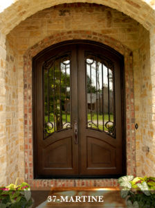 Eyebrow Top Wrought Iron Entry Door with Transom pictures & photos