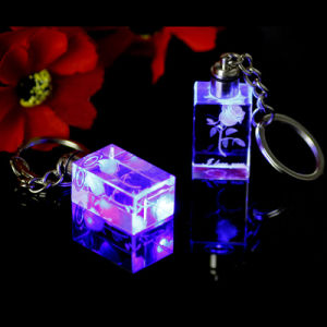 Custom Wedding Favor Gift Crystal LED Keyring, Glass Key Ring pictures & photos