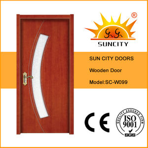 Residential High Quality Glass Interior Teak Wooden Plywood Door (SC-W099) pictures & photos