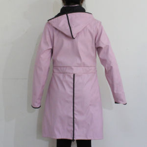 Pink Solid Hooded Waterproof PU Raincoat pictures & photos