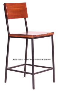 Morden Metal Dining Restaurant Solid Wooden Counter Bar Chair pictures & photos