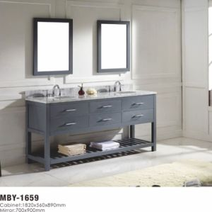 Legion Furniture 59 Inch Dark Grey Solid Wood Double Sink Vanity Set With  Faucet And Mirror