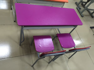 Kindergarten Furniture Double Cute Children Desk and Chair (SF-32C) pictures & photos
