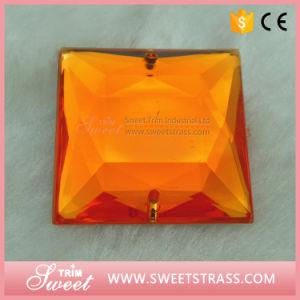 Square Orange Sew on Acrylic Stones for Garment pictures & photos