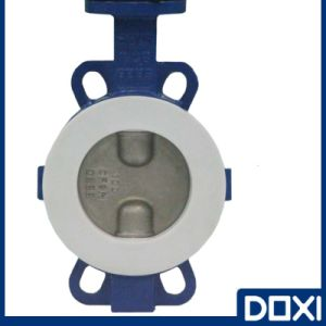 Teflon PTFE Seat Half Lined Wafer Type Resilient Butterfly Valve for Corrosive Chemical Industry pictures & photos
