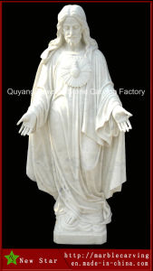 Hand Made White Marble Jesus Statue pictures & photos