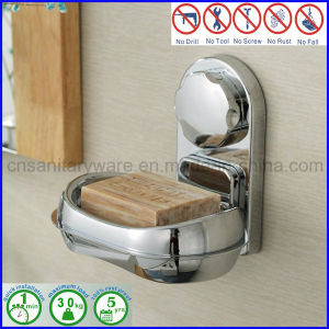 ABS Wall Mounted Suction Soap Dish Holder Bathroom Fitting with Chromed