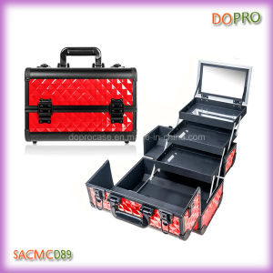 Red Color Aluminum Travel Cosmetic Case with Mirror (SACMC089)