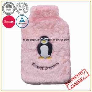 Cow Embroidery Pink Color Faux Fur Hot Water Bottle Cover pictures & photos