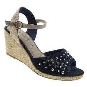 Navy Hemp Rope High Heel Fashion Sandal for Women