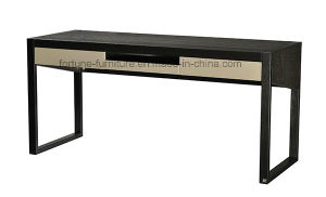 Wooden UV Black /Black & High Gloss Khaki Computer Desk with Two Drawers (I&D-N70401) pictures & photos
