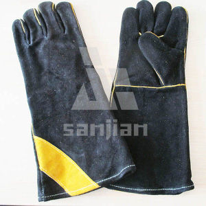 Black Double Plam Leather Welding Safety Glove with CE Work Glove pictures & photos