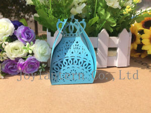Customized Size 5.5*4.7*9.5cm Laser Cut Candy Paper Box for Wedding Favor