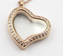 Silver/Gold/Rose Gold Heart Style Floating Locket Pendant with Crystal pictures & photos