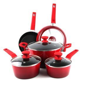 Amazon Vendor 8 Piece Red Cookware Set Black Nonstick Interior pictures & photos