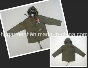 Boy Coated Fashion Rain Jacket with Hood Outdoor Clothes pictures & photos