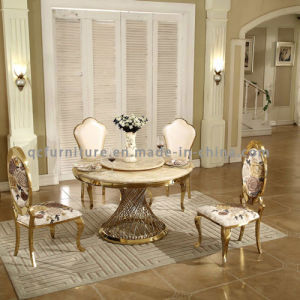 Dining Room Popular Marble Top Stainless Steel Base Round Table pictures & photos