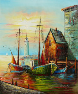Popular Fishman Ship Landscape Oil Paintings Home Decor (LH-321000) pictures & photos