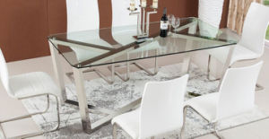 Simple Glass Dining Table Set for Home or Restaurant (SDT-004)