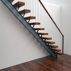 Steel Straight Staircase with Wooden Stair Tread pictures & photos