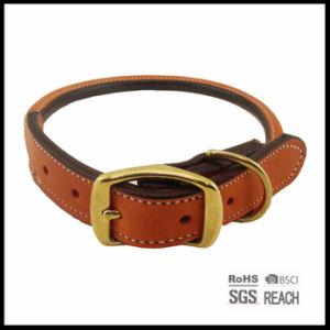 Brown Rolled Real Leather Pet Dog Collar pictures & photos