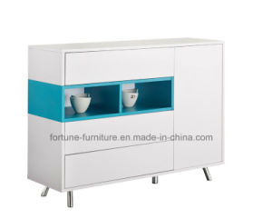 Modern Wooden UV High Gloss White&Blue Sideboard with Stainless Steel Feet (Sea 302) pictures & photos