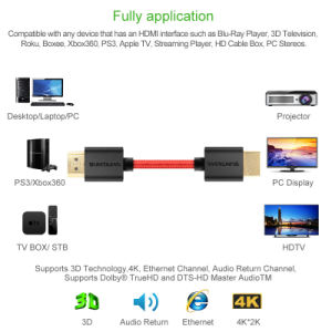 2m High Quality High Speed Male to Male Nylon HDMI Cable pictures & photos