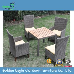 Outdoor Dining Table and Chairl with Half Round Rattan